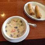 Tom Ka Gai soup and Spring Rolls