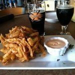 onion straws and tasty beer