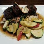a great meatloaf with Merlot sauce, fresh veggies, mashed potatoes and fried egg