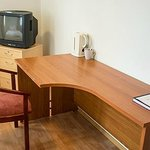 Desk, chair and TV