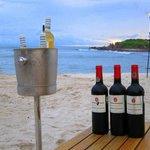 beach wine at dinner by staff