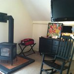 Added bonus of wood stove in our room