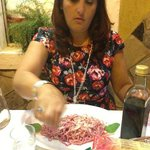 beetroot spaghetti and my lovely wife :-)