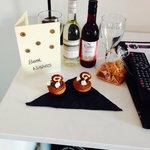 Birthday card, fudge, wine and cupcakes!