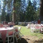 Jardín con las mesas para la barbacoa