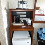 room coffee maker & fridge