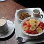 Delicious fruit and yogurt breakfast