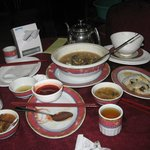 Sopa caliente, hot soup,chinesse rolls and sauce..rice rolls and vetables,sea food leafs soup