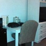 Desk, dresser, microwave, fridge