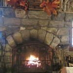 The beautiful fireplace in the Dining Lodge