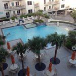 View of the pool area from the balcony. Room W42b
