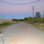 dirt road behind the motel
