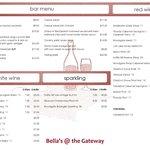 Bella's Cafe & Wine Bar Meu