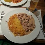 Veal with mushroom cream sauce and rosti - highly recommended!
