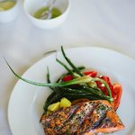 Grilled Salmon in the restaurant