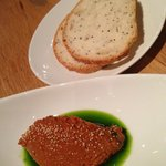 Complimentary bread and tomato/red pepper paste