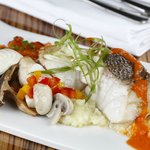 Steamed Grouper on a bed of mashed potatoes and sauteed vegetables with a tomato coulis sauce