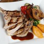 Beautiful tender veal chop with seasonal roasted vegetables