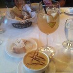 Sangria and butternut squash soup
