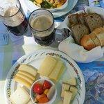 Lunch, cheese plate, Veggie Spätzle, and Bier    - Bellevue Hotel Murren