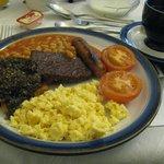 Scottish breakfast (tomato, beans, scrambled eggs, sausage, haggis, hash brown, potato waffle)