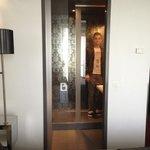 See through glass bathroom door!