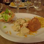 Main course with Monkfish fricasse & salad
