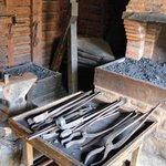 Inside the blacksmith's shop.
