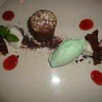 Chocolate Fondant and Mint Ice cream - Dessert