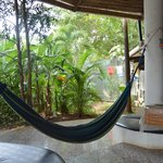 Hammocks and hostel garden.