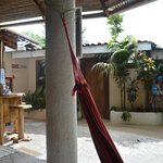 Hammocks and private rooms.
