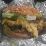 double with cheese grilled onions mushrooms jalapenoes lettuce and tomato!!!