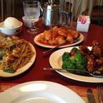 Delicious!!! L-R. shrimp lo mein  top: sweet and sour chicken. Crystal chicken w broccoli. we ha