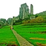 Corfe Castle from the main entrance.