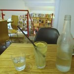 Home-made lemonade, and chilled water