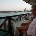 My sweet husband and the view from his side of the table