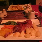 Our meal - a perfect half roast duck and white fish