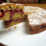 Raspberry Bakewell cake - with our home grown raspberries