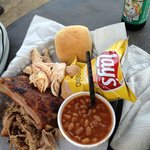 The Sampler - with baked beans, chips and a beer.