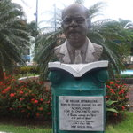 Statue of Economics Nobel Laureate Sir Aurthur Lewis at the Derek Walcott Square