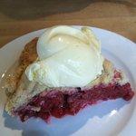homemade raspberry pie with homemade ice cream