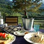 Wonderful dinner overlooking the Pyrenees