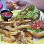 Mexican burger with chipotle fries