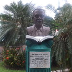 No longer Columbus Square...now Derek Walcott Square. Statue of Derek Walcott Nobel Laureate