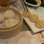 pork buns on the left (mince not bbq pork), crab & mushroom pastries on the right