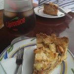Dutch apple pie, frappe and ice tea, yum