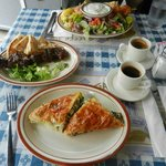 Salad, meat sticks, spinach pie and Greek coffee.