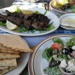 Greek Salad and Meat Sticks-delicious!