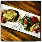 Bun-less Blues burger with greek salad