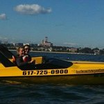 Mini speed boating on the Boston harbor